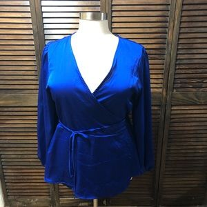 Royal Blue Wrap Top